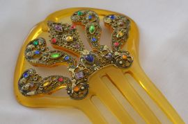 Jewelled Hair Comb - Early 20th Century - Celluloid and Bohemian Filigree - Very Decorative (SOLD)